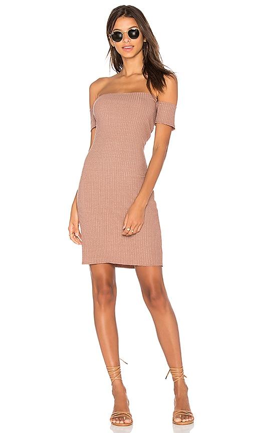 NYTT Rib Off Shoulder Dress in Blush