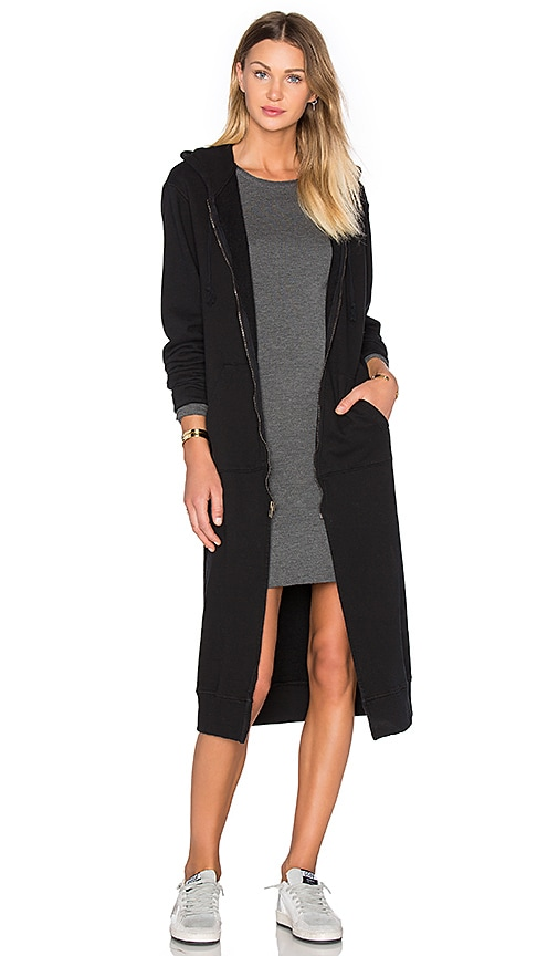 NYTT Long Hooded Jacket in Black