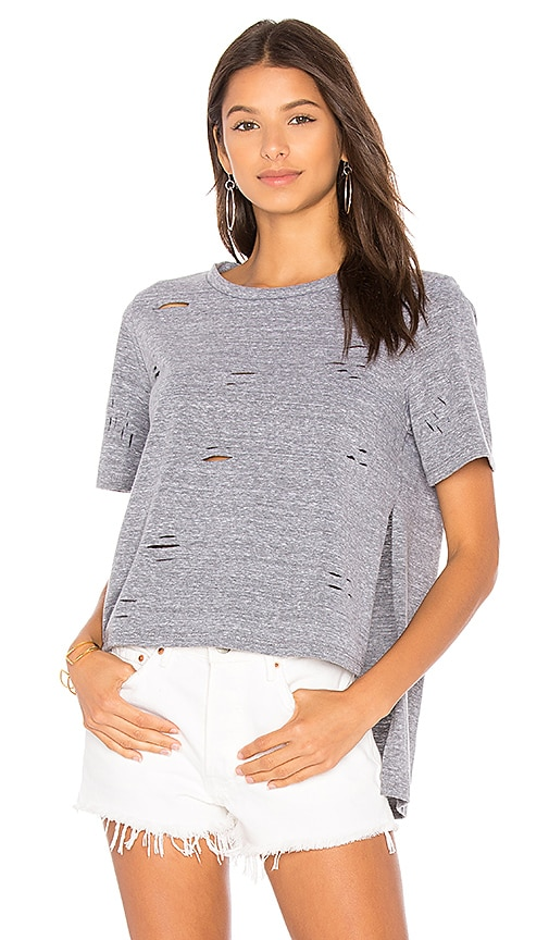 NYTT Slit Distressed Tee in Gray