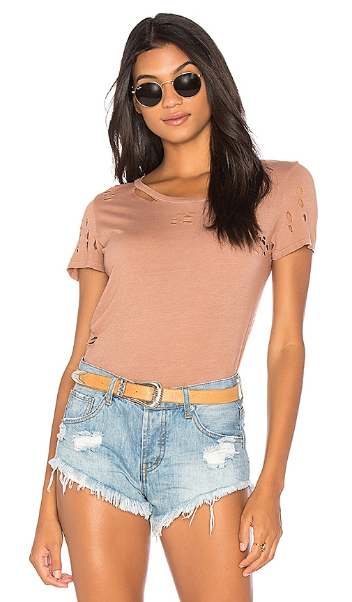 NYTT Distressed Cotton Tee in Tan