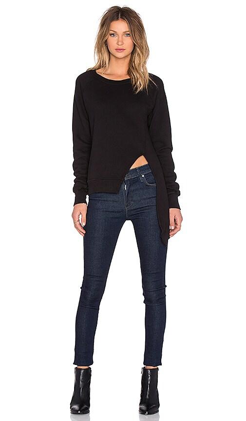 OAK Split Front Sweatshirt in Black