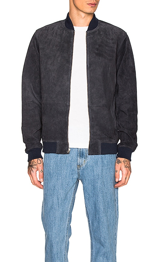 Obey Clifton Suede Jacket in Navy