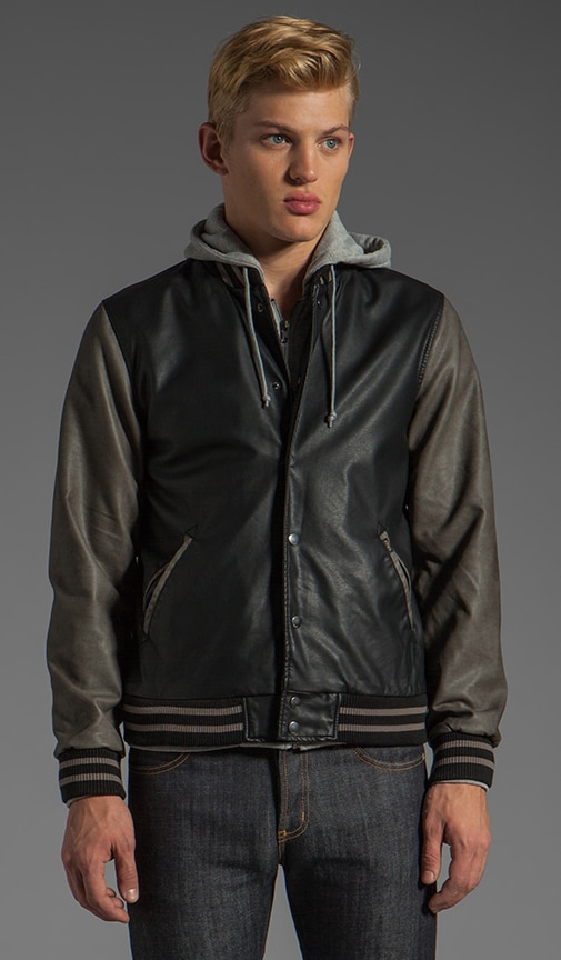 Varsity Hooded Leather Jacket