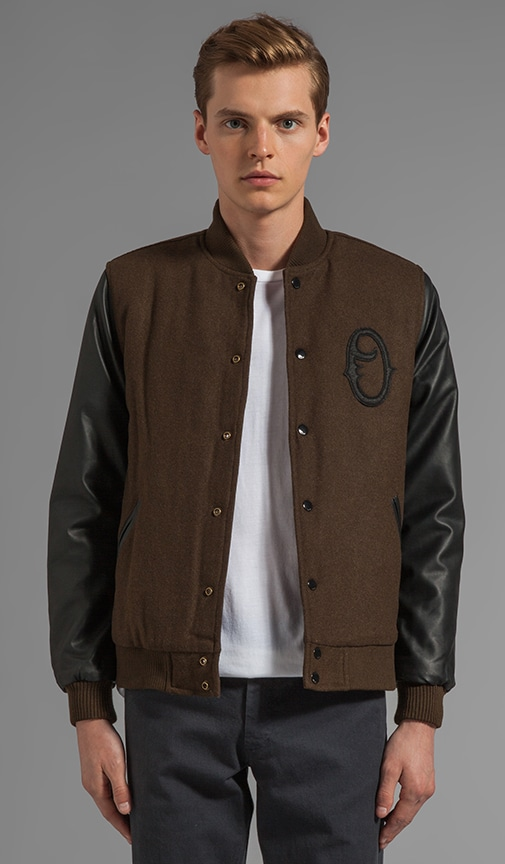 The O Varsity Jacket with Faux Leather Sleeve