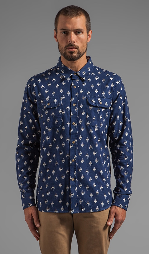 Early Bird Flannel Button Down with Bird Print