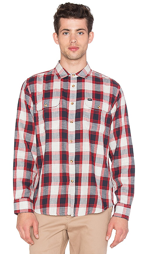 Obey Ridley L/S Button Up Shirt in Navy Multi