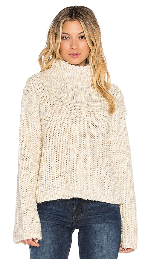 Obey Alexa Crop Funnel Neck Sweater in Cream