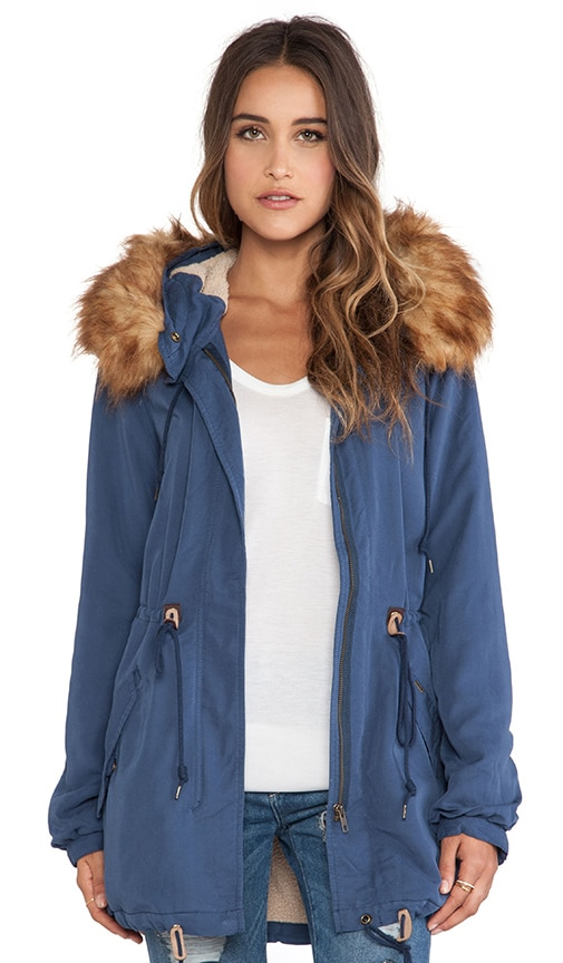 Knightsbridge Jacket with Faux Fur Collar