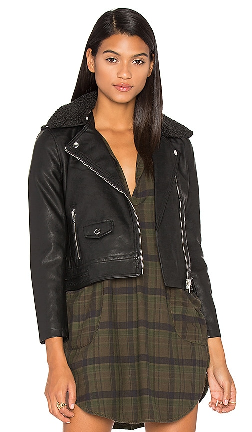 Obey Billie Vegan Leather & Faux Fur Jacket in Black