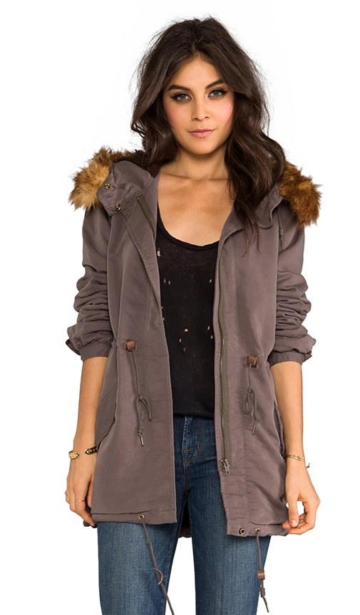 Knightsbridge Military Jacket with Faux Fur Trim