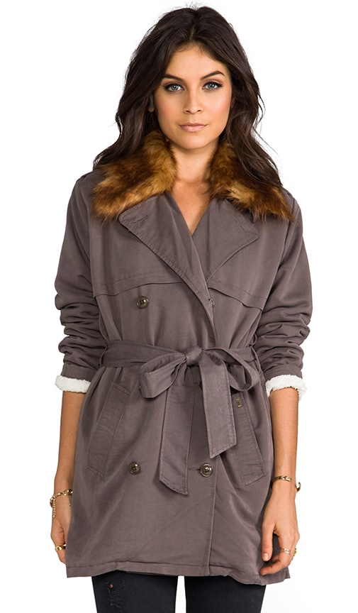 Chelsea Trench Coat with Removable Faux Fur Collar