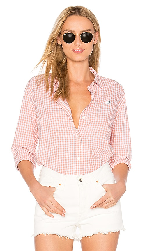 Obey 89 Check Button Down Shirt in Rose