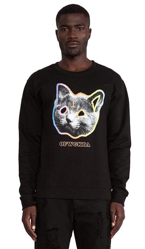 b8bdadb638b4 Odd Future OFWGKTA Tron Cat Crew in Black