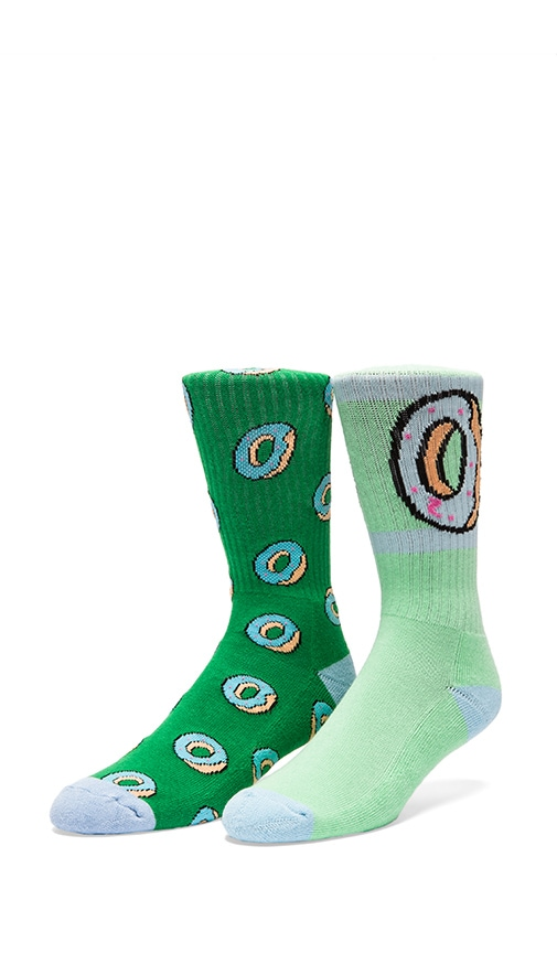 Donut Allover Sock in Green, Odd Future OF Donut Sock