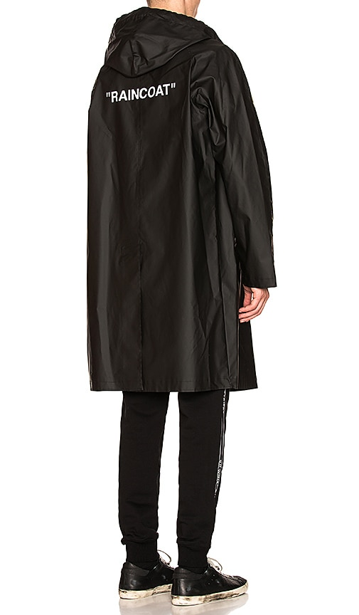 b7189bc3a7c1 OFF-WHITE Quote Raincoat in Black   White