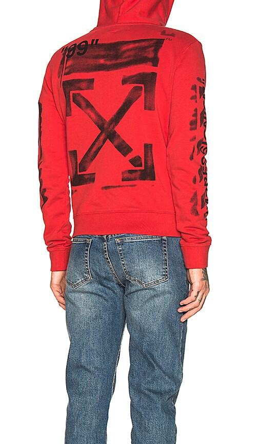 292585f028e OFF-WHITE Diagonal Stencil Hoodie in Red   Black