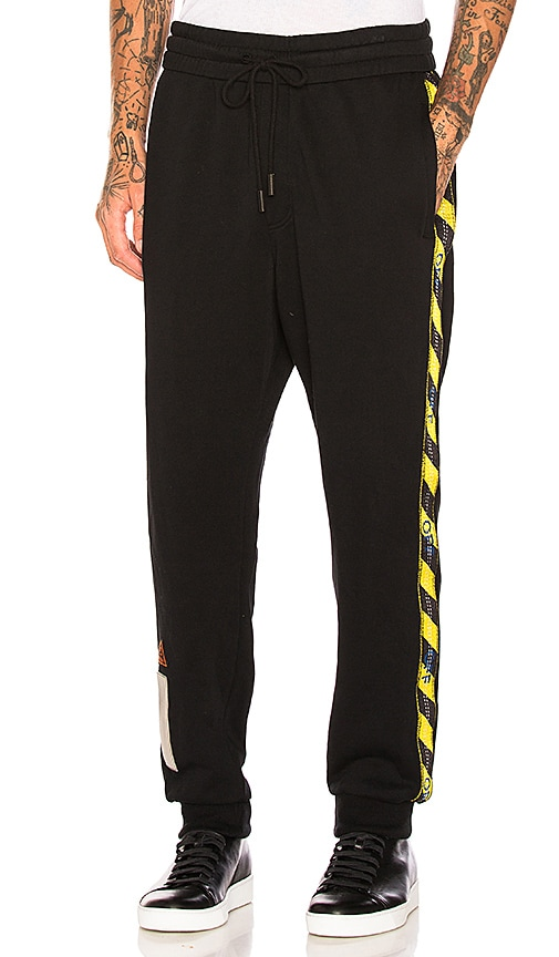 6cdc69aab6ea OFF-WHITE Side Tape Sweatpants in Black
