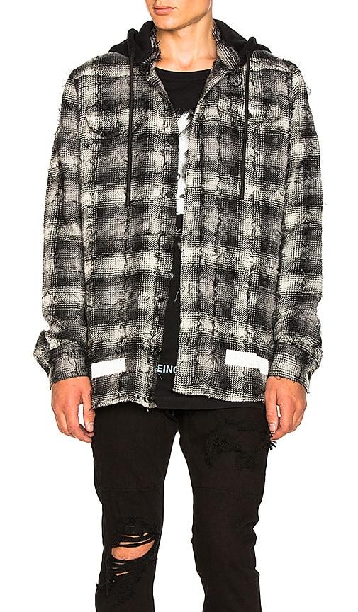 948ef7f2d293 OFF-WHITE Diagonal Check Hooded Shirt in White | REVOLVE
