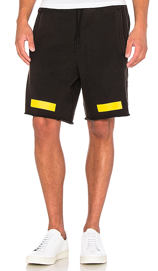 OFF-WHITE Arrows Shorts in Black & Yellow