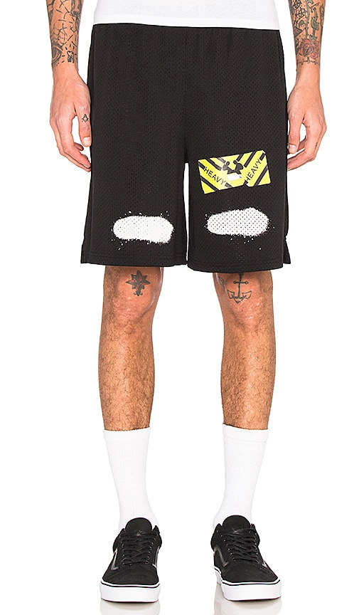 OFF-WHITE Diag Spray Mesh Shorts in Black