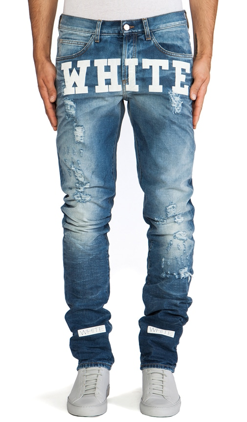 Jean with White Text