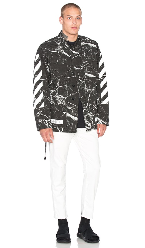 OFF-WHITE Sahariana Jacket in Black Marble