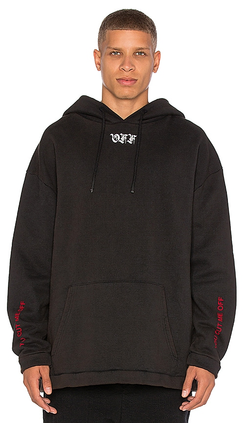 OFF-WHITE Cut Off Hoodie in Black