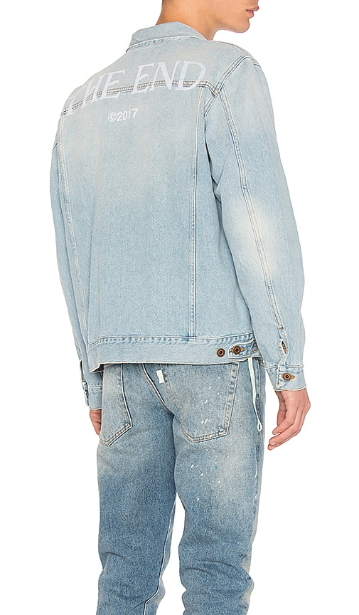 OFF-WHITE Scorpian Denim Jacket in Bleach White