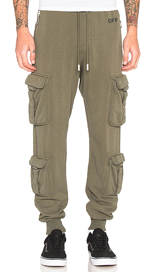 OFF-WHITE Washed Cargo Pant in Olive