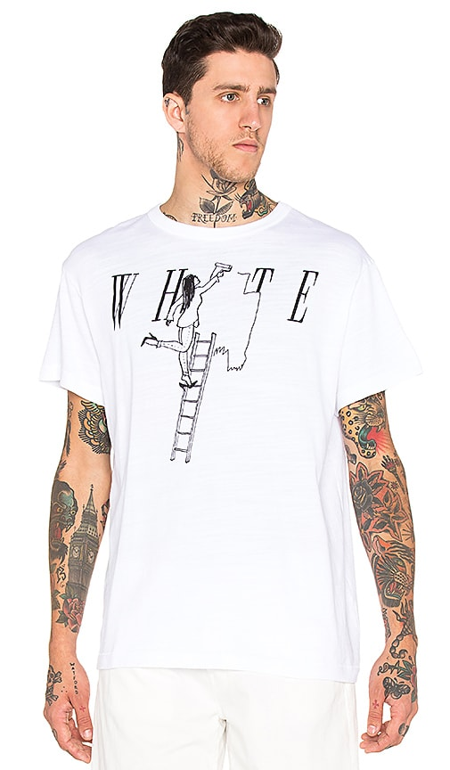 OFF-WHITE Painting Girl Tee in White & Black