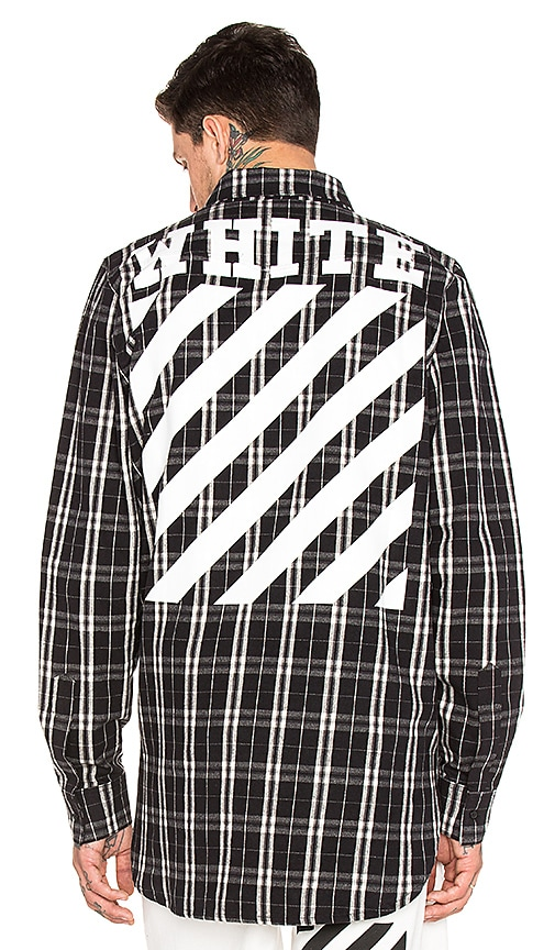 OFF-WHITE Check Shirt in Black & White All Over White