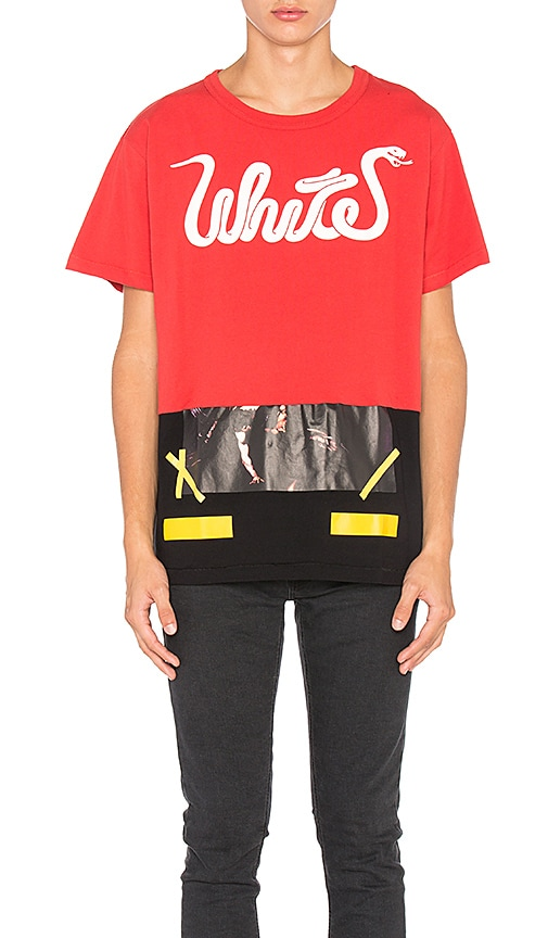 OFF-WHITE White Patchwork Tee in Red