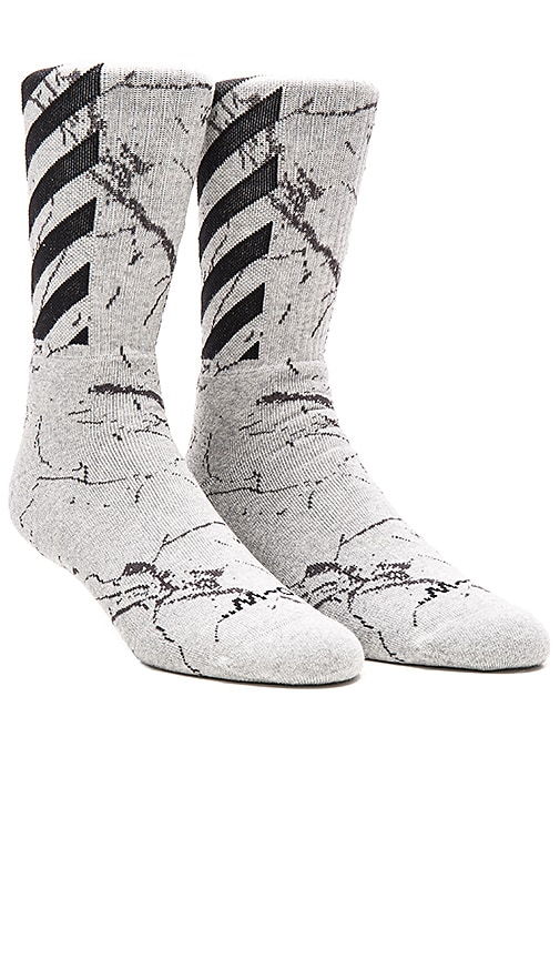 64d755729baf OFF-WHITE Striped Socks in Grey Marble