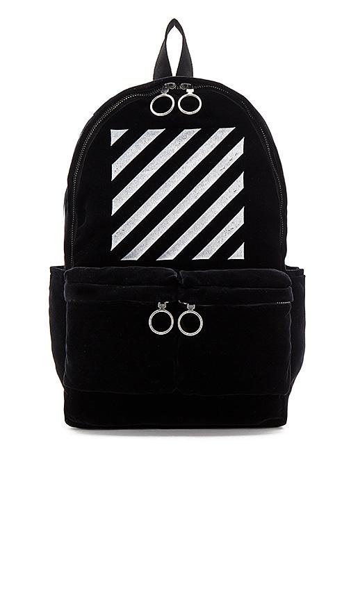 OFF-WHITE Velvet Diagonals Backpack in Black