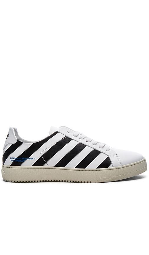 OFF-WHITE Diagonal Stripe Sneakers in White & Black
