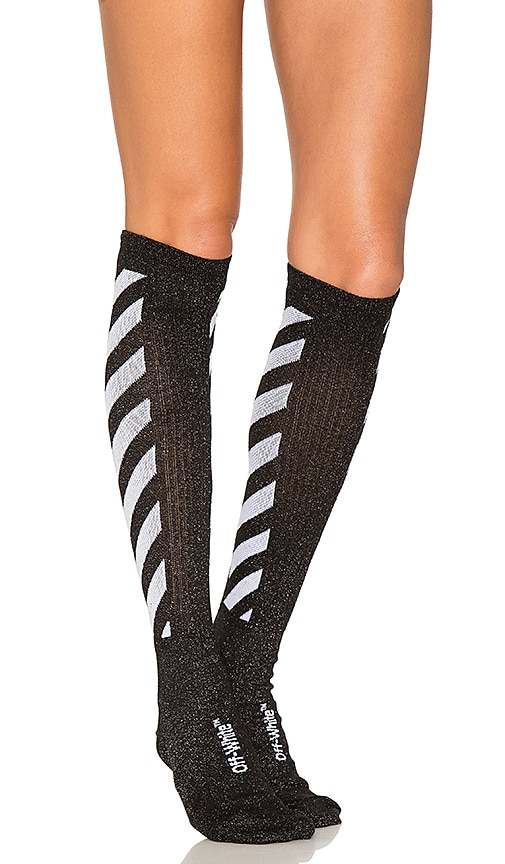 eb5b6e5565bd1 OFF-WHITE Shiny Socks in Black | REVOLVE