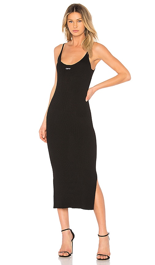 OFF-WHITE Midi Knit Dress in Black