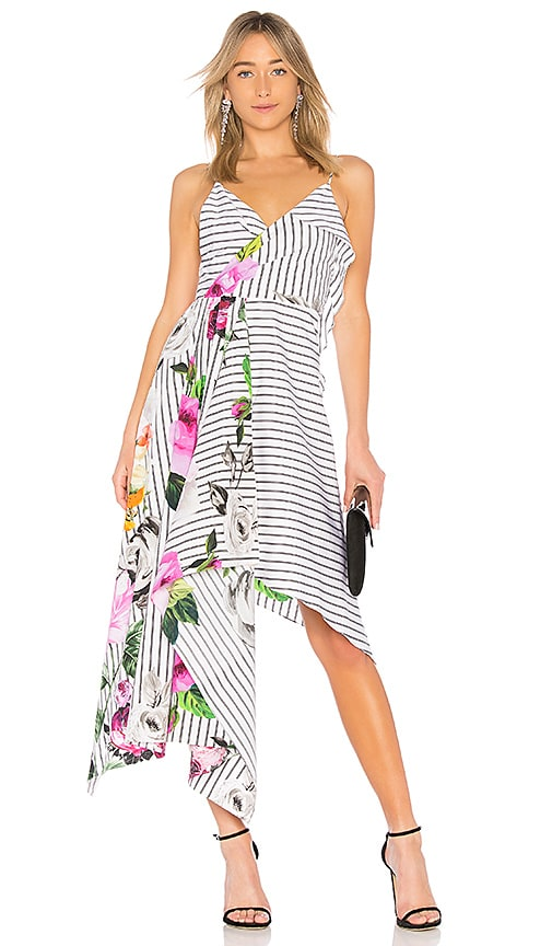 OFF-WHITE Draped Floral Dress in White