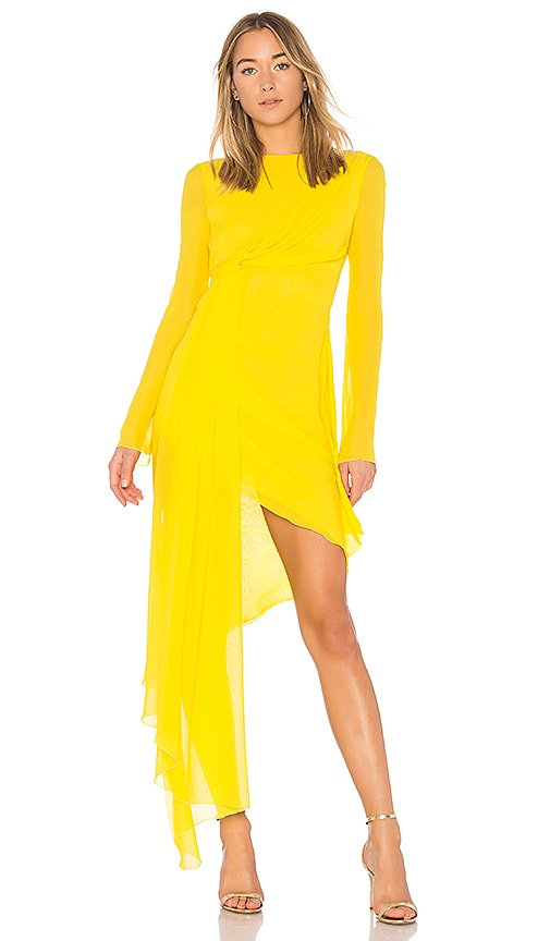 OFF-WHITE Asymmetric Dress in Yellow