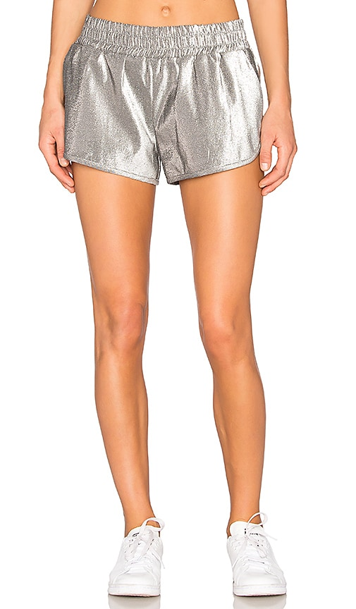 OFF-WHITE Running Shorts in Metallic Silver