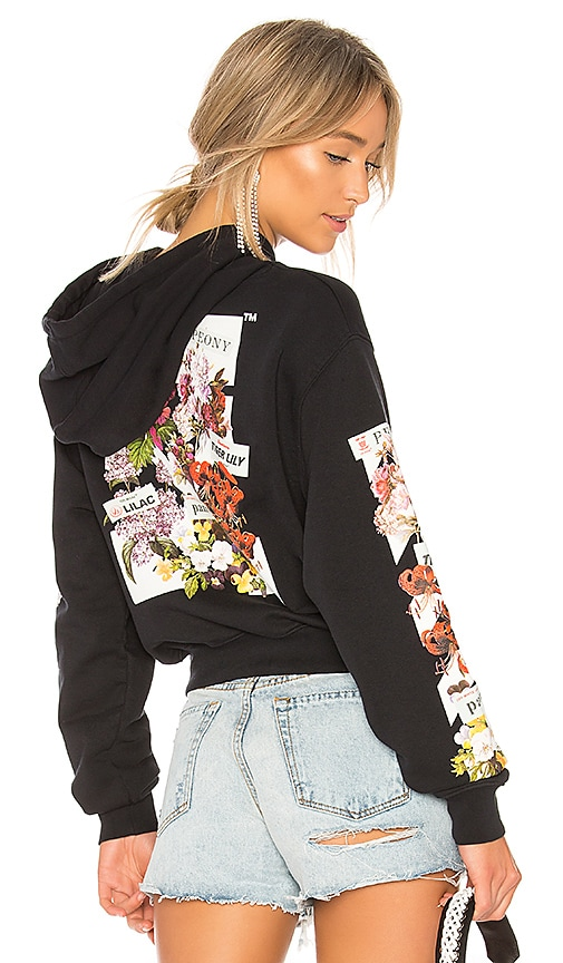 OFF-WHITE Diagonal Flower Shop Hoodie in Black
