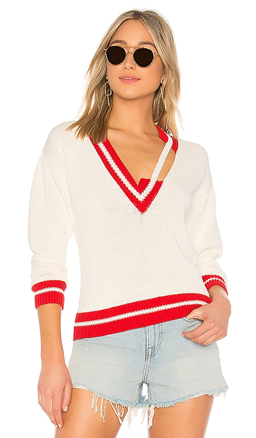 OFF-WHITE Asymmetrical Knit Sweater in Ivory