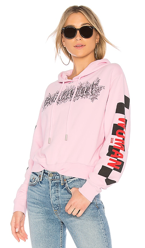 OFF-WHITE Taxi Cropped Hoodie in Pink