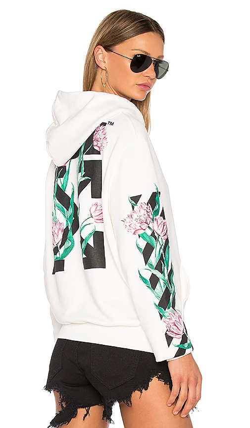 OFF-WHITE Tulips Hoodie in White