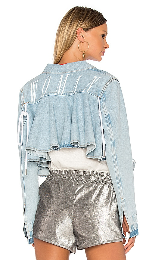 OFF-WHITE Ruffle Denim Jacket in Bleach White