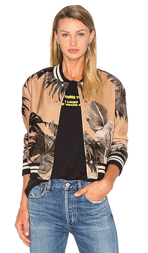 OFF-WHITE Banana Leaf Varsity Jacket in Tan