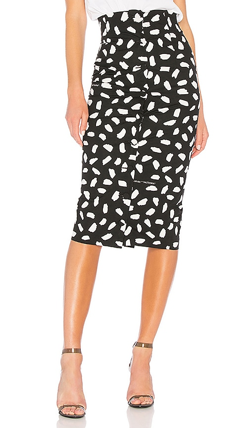 OFF-WHITE Pois Buttons Longette Skirt in Black & White
