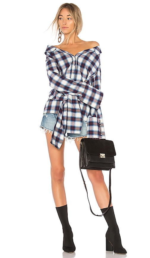 OFF-WHITE Down The Shoulder Shirt in Blue