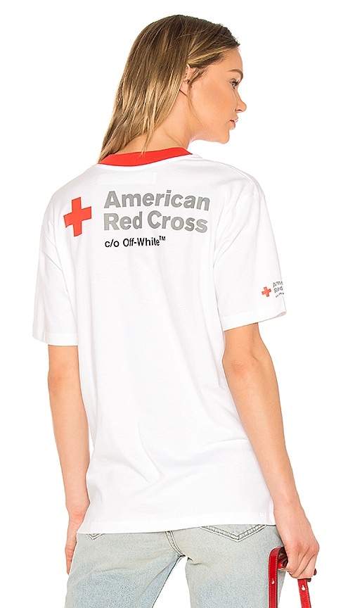 OFF-WHITE Red Cross Oversized Tee in White