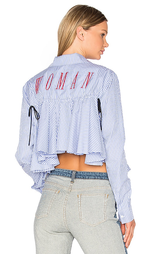 OFF-WHITE Back Ruffle Striped Shirt in Red